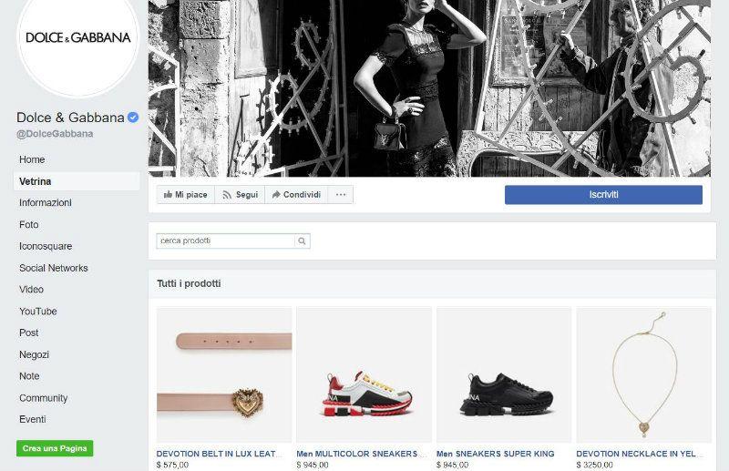 Vetrina prodotti su Facebook