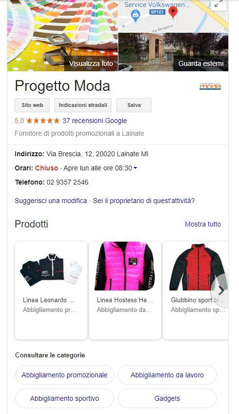 Vetrina prodotti su Google My Business