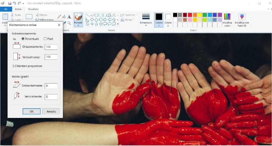Come ridimensionare immagini Windows Paint