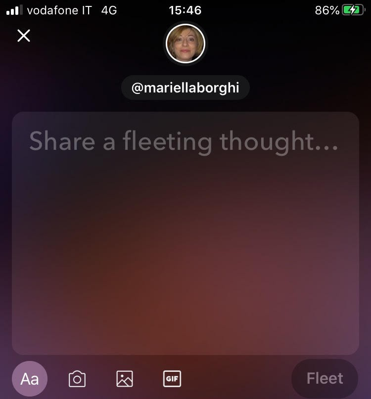 Fleet di Twitter cosa scrivere