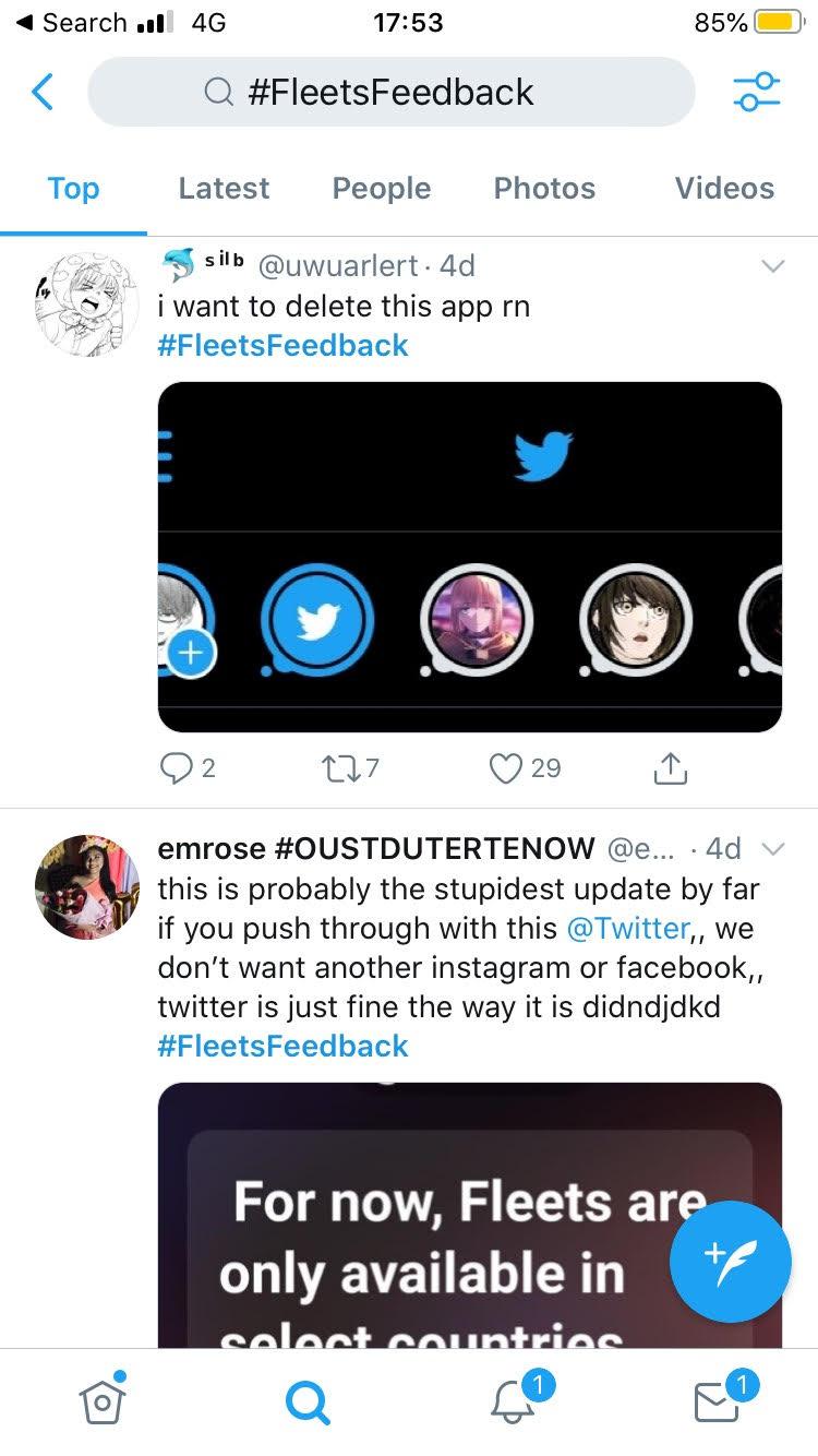 Feedback alle Fleet di Twitter