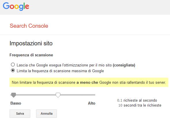 Crawl delay - Google Search Console